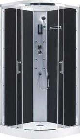 Hydromasážny sprchový box JENA 90x90cm, leštený hliník/dymové sklo