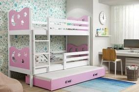 BMS Group Poschodová posteľ s prístelkou MIKO - s úložným priestorom - pre troch - BIELA
