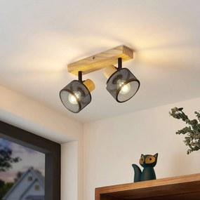 Lindby Evinora stropné svietidlo z dreva, 2-pl.