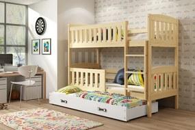 BMS Group Poschodová posteľ s prístelkou KUBO - s úložným priestorom - pre troch - BOROVICA