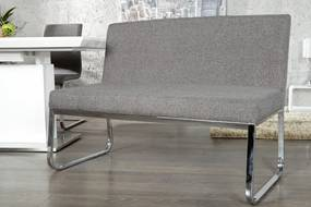 Lavica 130 cm Hampton štruktúra tkaniny sivá