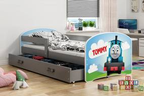 Posteľ LUKI 160x80cm - Grafit - nálepka Tommy vlak