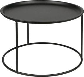 Čierny odkladací stolík WOOOD Ivar, Ø 56 cm