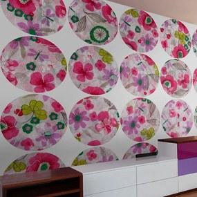 Fototapeta - Pink meadow - circle 50x1000