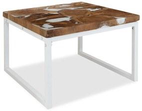 vidaXL Konferenčný stolík, teakové drevo a živica 60x60x40 cm