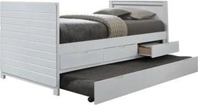 KONDELA Emira jednolôžková posteľ s prístelkou biela