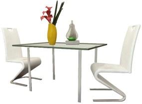 vidaXL Sada bielych konzolových stoličiek z koženky v tvare U, 2 ks
