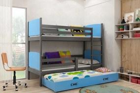 Poschodová posteľ s prístelkou TAMI 3 - 160x80cm - Grafitová - Modrá