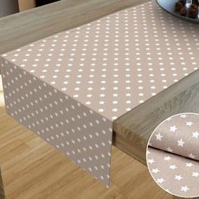 Goldea vianočný bavlnený behúň na stôl - vzor biele hviezdičky na béžovom 20x160 cm