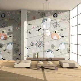 Fototapeta Bimago - Natural pattern with birds + lepidlo zadarmo 200x154 cm