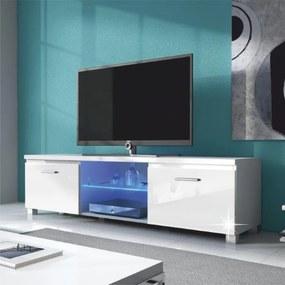 RTV stolík, biela-biely extra vysoký lesk HG, LUGO 2