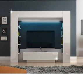 Luxusná obývacia stena s LED osvetlením, biela/biely extra vysoký lesk, MONTEREJ