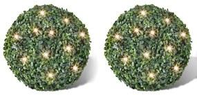 vidaXL Krušpánová guľa s umelými lístkami 35 cm so solárnymi LED reťazami