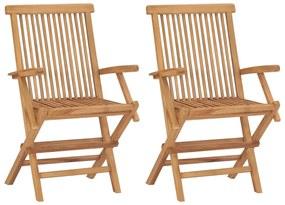 vidaXL Záhradné stoličky z tíkového dreva 55 x 60 89 cm 2 ks