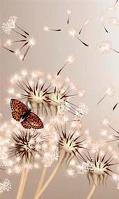 Vliesové fototapety, rozmer 150 cm x 250 cm, púpavy a motýle, DIMEX MS-2-0148