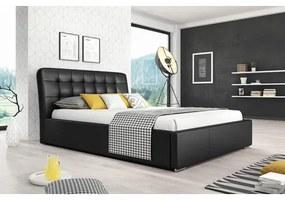 Čalúnená posteľ MALAGA čierna rozmer 180x200 cm