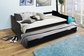MAXMAX Detská posteľ s výsuvnou prístelkou z MASÍVU 200x90 cm BABETA - čierna 200x90 NIE