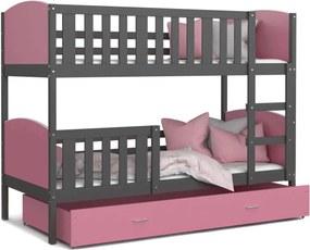 GL Dobby Grafit Color MDF poschodová posteľ Farba: Ružová, Rozmer: 160x80