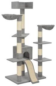 vidaXL Škrabadlo pre mačky so sisalovými stĺpikmi sivé 183 cm XXL