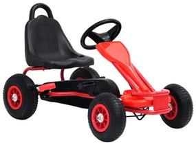 Detská šľapacia motokára s pneumatikami, červená