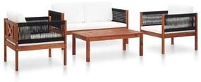 vidaXL 4-dielna záhradná sedacia súprava masívne akáciové drevo