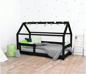 Čierna detská posteľ s bočnicami zo smrekového dreva Benlemi Tery, 120 × 200 cm