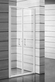 Sprchové dvere Jika Lyra plus dvojkrídlové 90 cm, sklo číre, biely profil H2563820006681