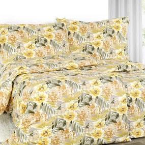 Goldea exkluzívne ľanové obliečky - vzor žlté havajské kvety 140 x 200 a 70 x 90 cm