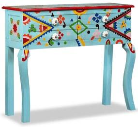 vidaXL Konzolový stolík, pevné mangovníkové drevo, modrý, ručne maľovaný