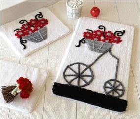 Sada troch kúpeľňových predložiek s motívom kvetinového vozíka v červenej, sivej a čiernej farbe Knit Knot