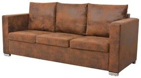 vidaXL 3-miestna sedačka, 191x73x82 cm, umelá semišová koža