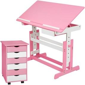 tectake 401240 detský písací stôl rastúce s pojazdným kontajnera - růžová
