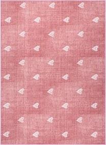 Metrážny koberec HEARTS Jeans - ružový - 200 cm