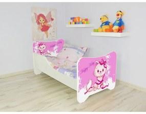 Detská posteľ s obrázkom 140x70 - Happy Kitty