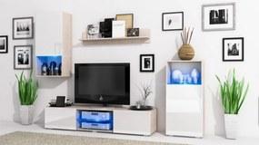Elegantná obývacia stena LOFT Sonoma / Biely lesk