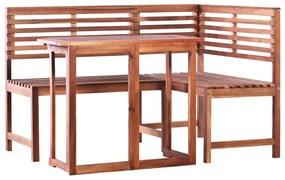 vidaXL Balkónový stôl a rohová lavica 2 kusy, masívne akáciové drevo