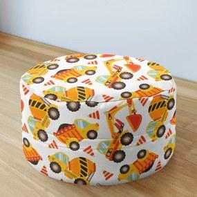 Goldea detský bavlnený sedacie bobek 50x20cm - vzor stavebná autá 50 x 20 cm