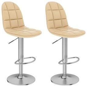 vidaXL Barové stoličky 2 ks, krémové, umelá koža