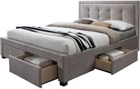 Manželská posteľ EVORA + rošt + pěnový matrac COMFORT, 180x200, sawana 21 sivá