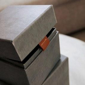 MONOGRAPH Úložný box (kocka) Dark grey/Beige Tmavošedý - väčší