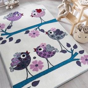 DY Detský krémový koberec Vtáčiky - rôzne rozmery Rozmer: 160 x 220 cm