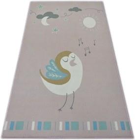 Detský protišmykový koberec LOKO Vtáčik ružový - 120x170 cm