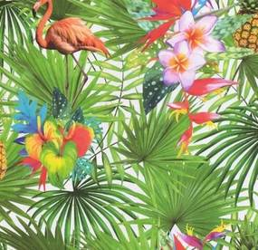 Papierové tapety na stenu Sweet & Cool 5225-10, rozmer 10,05 m x 0,53 m, palmy s plameniakmi a kvetmi, P+S International