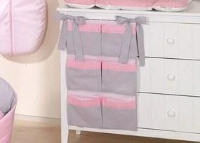 Vreckár na detskú postieľku Slon, ružová/sivá