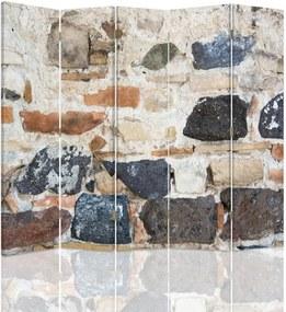 CARO Paraván - Stone Wall 2 | päťdielny | obojstranný 180x180 cm