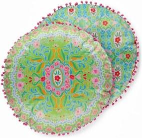 Obojstranný guľatý vankúš so zamatovým vzhľadom HAPPINESS Zabrina, ø 55 cm