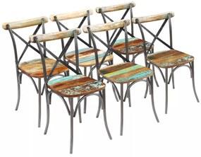 Jedálenské stoličky, 6 ks, masívne recyklované drevo, 51x52x84 cm (3x243722)