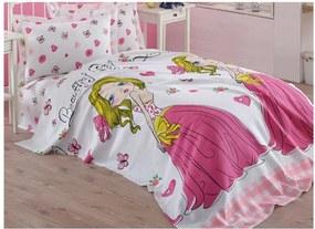 Ružová detská prikrývka cez posteľ z čistej bavlny Princess, 160 × 235 cm