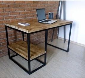 Psací stůl BIURKO 120 cm masiv dub a černý kov  75821