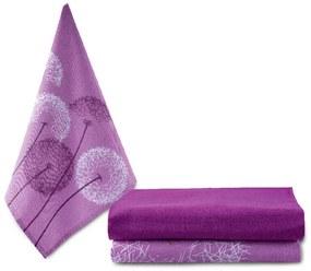 Bavlnené utierky PÚPAVA lila 3 ks 50 x 70 cm